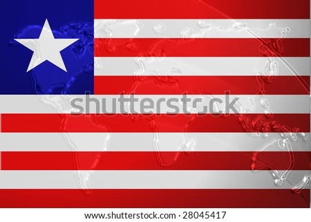 Flag of liberia national country symbol illustration with world map flag of liberia national country symbol illustration with world map metallic embossed look gumiabroncs Gallery
