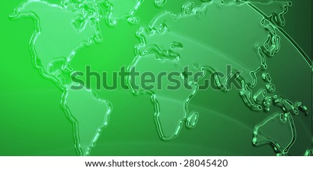Flag of Libya, national country symbol illustration with world map, metallic embossed look