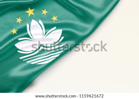 Flag of Macau white background and place for text #1159621672