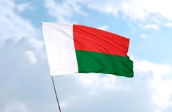 Flag of Madagascar in front of blue sky
