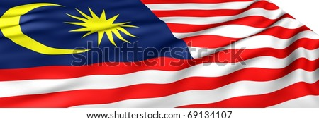 Flag of Malaysia against white background. Close up.