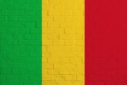 Flag of Mali. Brick wall texture of the flag of Mali.