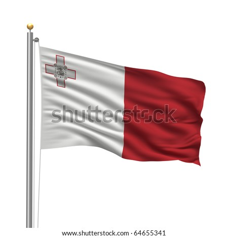 Eurovisión 2011 - Página 3 Stock-photo-flag-of-malta-with-flag-pole-waving-in-the-wind-over-white-background-64655341