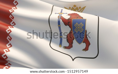 Flag of Mari El. High resolution close-up 3D illustration. Flags of the federal subjects of Russia.