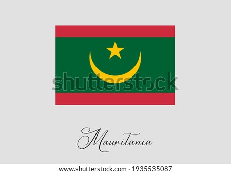 Flag of Mauritania and handwritten name of the country. Zdjęcia stock ©