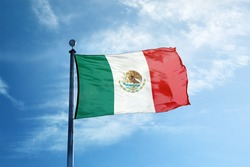 Flag of Mexico on the mast