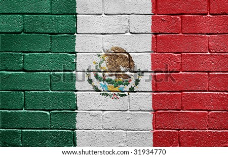 Flag of Mexico painted onto a grunge brick wall