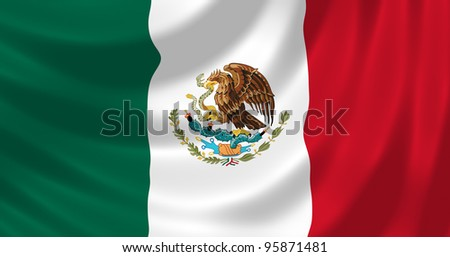 Flag of Mexico waving in the wind detail