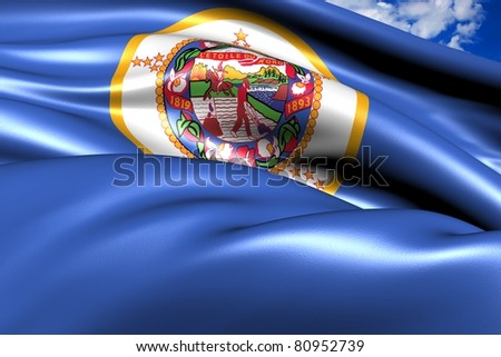 Flag of Minnesota against cloudy sky. Close up.