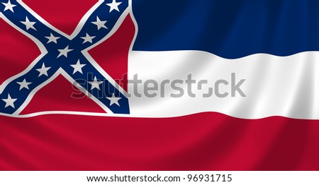 Flag of Mississippi state waving in the wind detail
