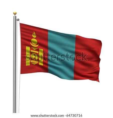 north korea flag pole. stock photo : Flag of Mongolia