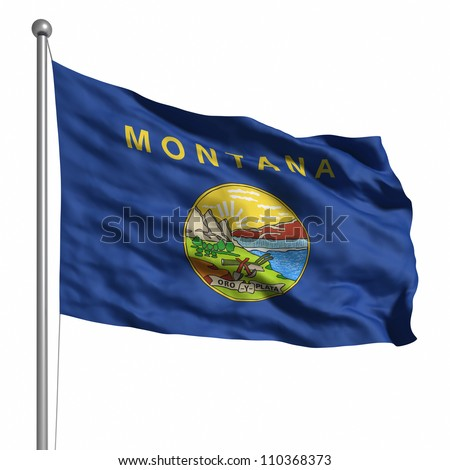 Flag of Montana. Rendered with fabric texture (visible at 100%).  Clipping path included.
