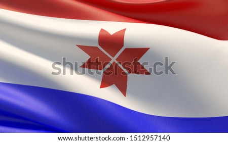 Flag of Mordovia. High resolution close-up 3D illustration. Flags of the federal subjects of Russia.