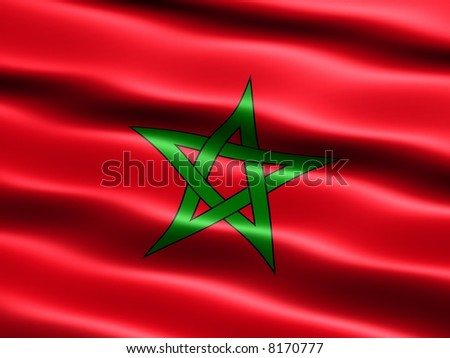 Flag of Morocco, computer generated illustration with silky appearance and waves