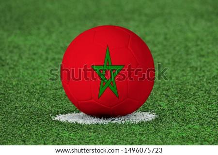 Flag of Morocco on Football Morocco Flag on soccer ball #1496075723