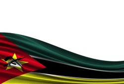 flag of Mozambique isolated on white background with place for your text.