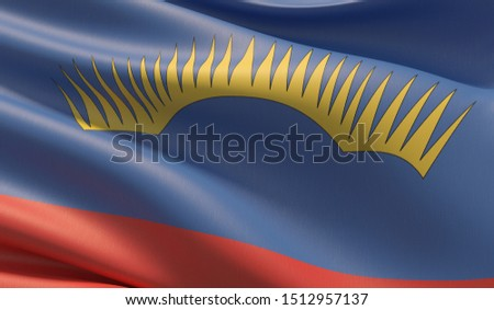 Flag of Murmansk Oblast. High resolution close-up 3D illustration. Flags of the federal subjects of Russia.