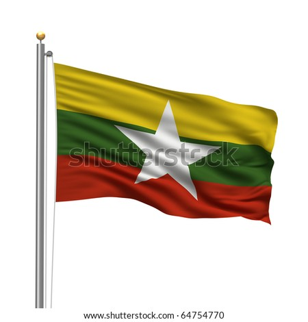 Flag of Myanmar with flag pole waving in the wind over white background - stock photo