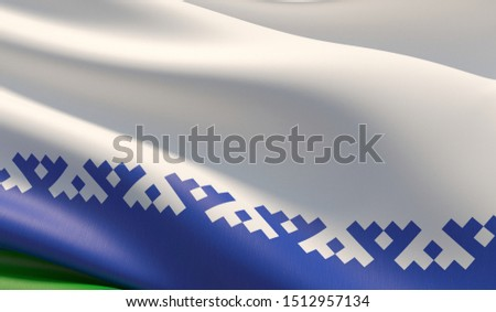 Flag of Nenets Autonomous Okrug. High resolution close-up 3D illustration. Flags of the federal subjects of Russia.