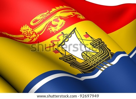 Flag of New Brunswick, Canada. Close up.