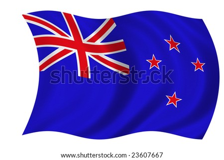 Flag of New Zealand isolated on a white background