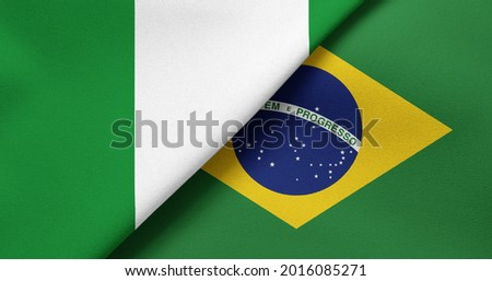 Flag of Nigeria and Brazil - 3D illustration. Two Flag Together - Fabric Texture Foto stock ©
