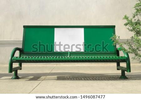 Flag of Nigeria on bench. Nigeria Flag on bench advertisement #1496087477
