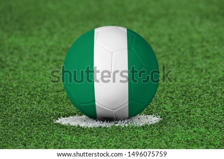 Flag of Nigeria on Football Nigeria Flag on soccer ball #1496075759