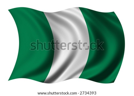 Flag of Nigeria waving in the wind - clipping path included - stock photo