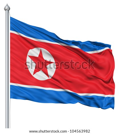 Flag of North Korea with flagpole waving in the wind against white background