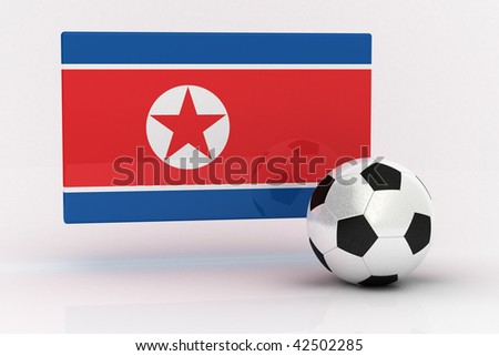 Flag of North Korea with soccer ball