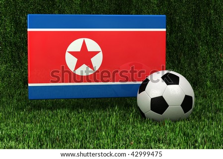 Flag of North Korea with soccer ball over grass background - very highly detailed render