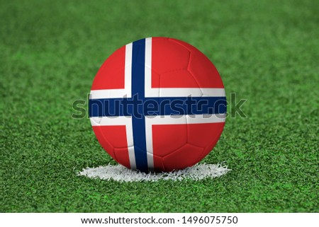 Flag of Norway on Football Norway Flag on soccer ball #1496075750