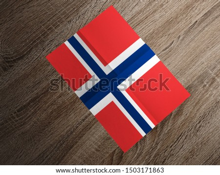 Flag of Norway on paper. Norway Flag on wooden table. #1503171863