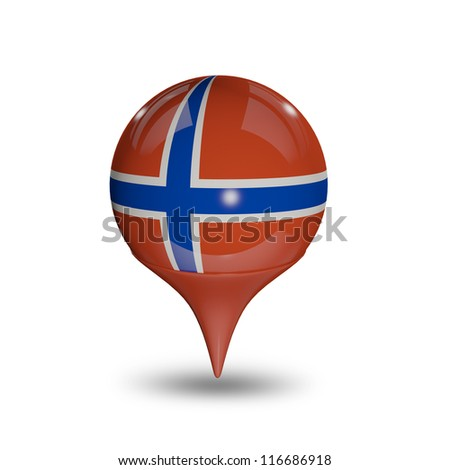 Flag of Norway pin isolated on white.