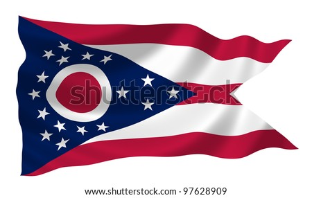 Flag of Ohio waving in the wind detail