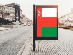 Flag of Oman Hanging on Advertising Board. Oman Flag for advertising, award, achievement, festival, election.