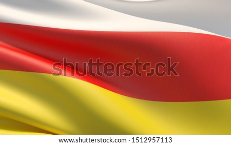 Flag of Ossetia. High resolution close-up 3D illustration. Flags of the federal subjects of Russia.
