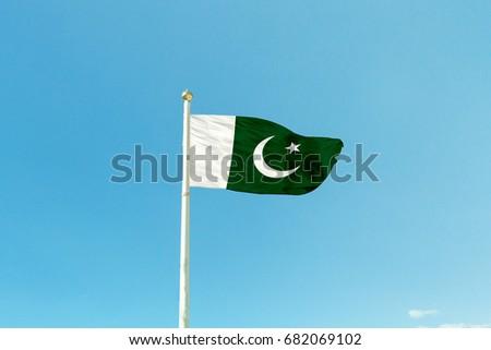 Flag of Pakistan on the mast
