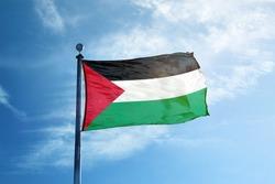Flag of Palestina on the mast