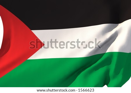 Flag of Palestine in the wind.