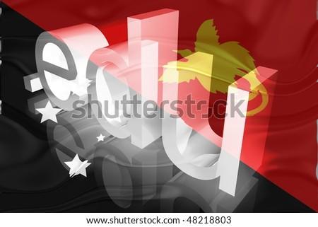 Flag of Papua New Guinea, national country symbol illustration wavy edu education website