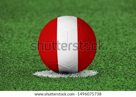Flag of Peru on Football Peru Flag on soccer ball #1496075738