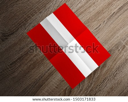 Flag of Peru on paper. Peru Flag on wooden table. #1503171833
