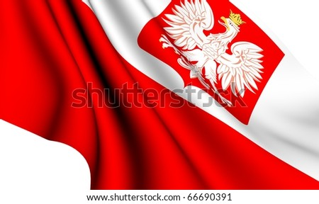 Flag of Poland against white background. Close up.