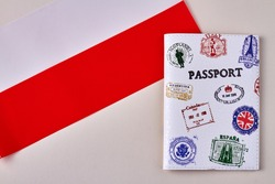 Flag of Poland and passport with stamps. Crossing the border and customs concept.