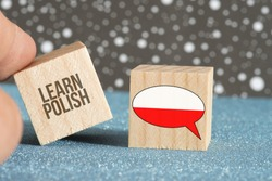 Flag of Poland and slogan Learn Polish