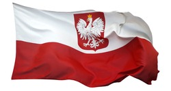 Flag of Poland, isolated on white background