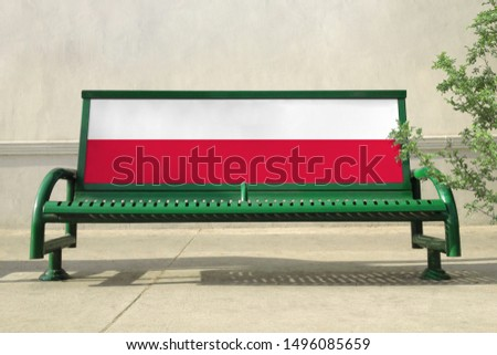 Flag of Poland on bench. Poland Flag on bench advertisement #1496085659