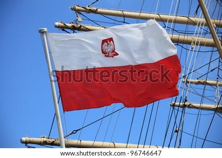 Flag of Poland on blue sky ship outdoor